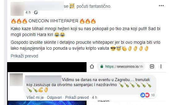 """""""Nasprotniki onecoina bodo danes naredili harakiri, se pravi samomor,"""" je zapisal eden od glavnih promotorjev Onecoina na Hrvaškem in dodal, da bi """"prodaja kriptožetonov OFC lahko postala najuspešnejši ICO v zgodovini kriptovalut""""."""