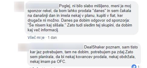 Komentarji v eni od slovenskih javnih skupin na Facebooku za svetovanje o naložbah v onecoin, v katerih uporabnica tarna, da je načrtovala prodajo onecoinov za fiat valuto, torej evre.