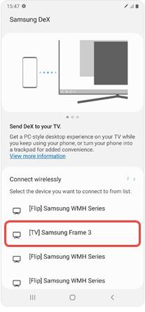 Z okrepljenimi povezovalnimi funkcijami Samsung DeX delujejo zaslona pametnih telefonov serije Galaxy Note 20 in Samsungovi pametni televizorji še bolj kot ena celota.