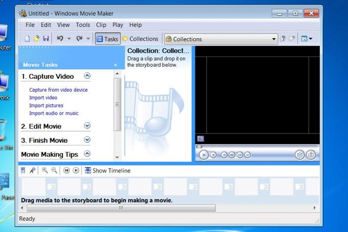 Takole je bilo videti orodje Windows Movie Maker v operacijskem sistemu Windows 7.