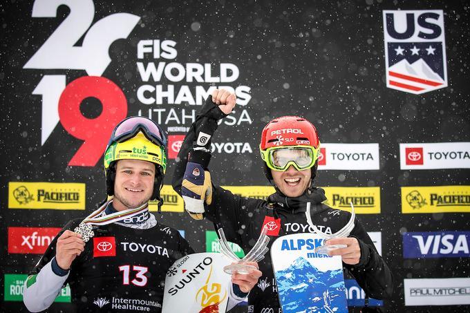 Mastnak in the company Žana Košir, the fifth in the big slalom test.