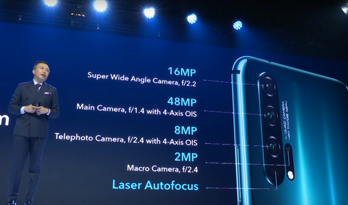 According to Honor, the most powerful features of the Honor 20 Pro have a very wide aperture (f / 1.4, that's less), providing brighter details and more complete frame shots, good image stabilization for sharpening hand photos, good optical zoom, and re-imaging also artificial intelligence, which will increase the image quality level with subsequent processing immediately after pressing the trigger at a higher or higher level. In the picture, Honorable Director George Zhao.