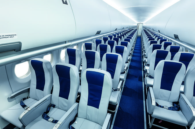 Inside the Dry Superjet 100 aircraft