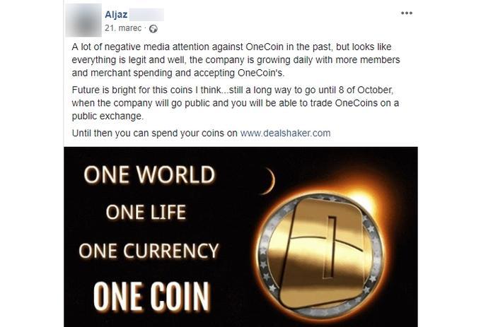Marčevska objava enega od slovenskih promotorjev kriptovalute onecoin, v kateri ne ugiba, temveč napoveduje, da bo z onecoini od 8. oktobra mogoče trgovati na odprtem trgu.