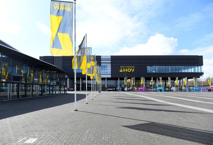 Koncertna dvorana Ahoy v Rotterdamu, ki bo - če bo šlo vse po načrtih - gostila letošnjo Evrovizijo.