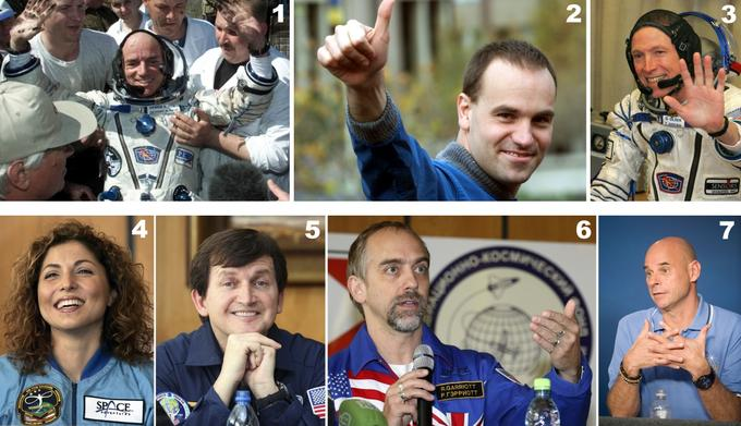 Seven Space Spiners: Former Aeronautical Engineer and Businessman Dennis Tito (1, 1999), Computer Programmer Mark Shuttleworth (2, 2002), Engineer and Entrepreneur Gregory Olsen (May 3, 2005), Computer and Electrical Engineer and Entrepreneur Anousheh Ansari, computer entrepreneur Charles Simonyi (5, 2007 and 2009), computer programmer Richard Garriott (6, 2008) and Canadian entrepreneur and poker player Guy Laliberté (7, 2009).