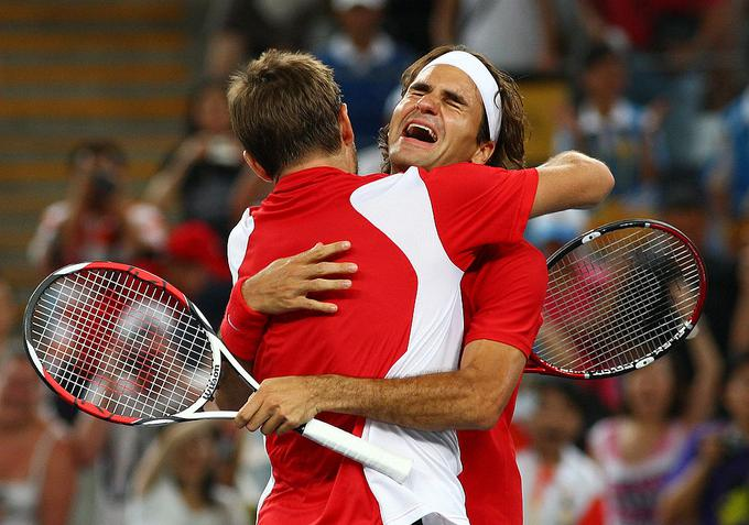 Roger Federer and Stan Wawrinka were in gold doubles at the Beijing Olympics.