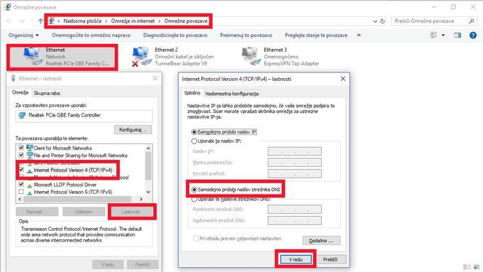 V Nadzorni plošči odpremo Omrežje in internet ter nato še Omrežne povezave in z desno tipko na miški kliknemo na aktivno povezavo ter izberemo Lastnosti. Na zavihku Omrežje nato z miško kliknemo na možnost Internet Protocol Version 4 (TCP/IPv4) in spodaj desno še enkrat kliknemo Lastnosti. V novem oknu obkljukamo polje Samodejno pridobi naslov strežnika DNS) in kliknemo V redu.