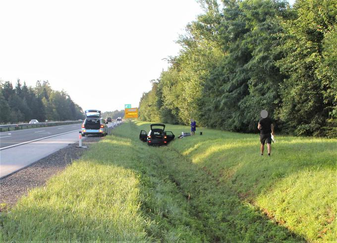 Traffic accident on the highway of Gorenjska, which was the result of driver fatigue.